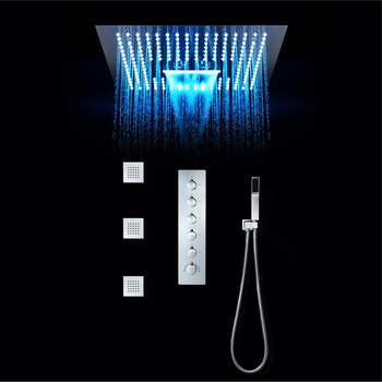 Shower set for bathroom thermostatic LED shower faucet with body jet