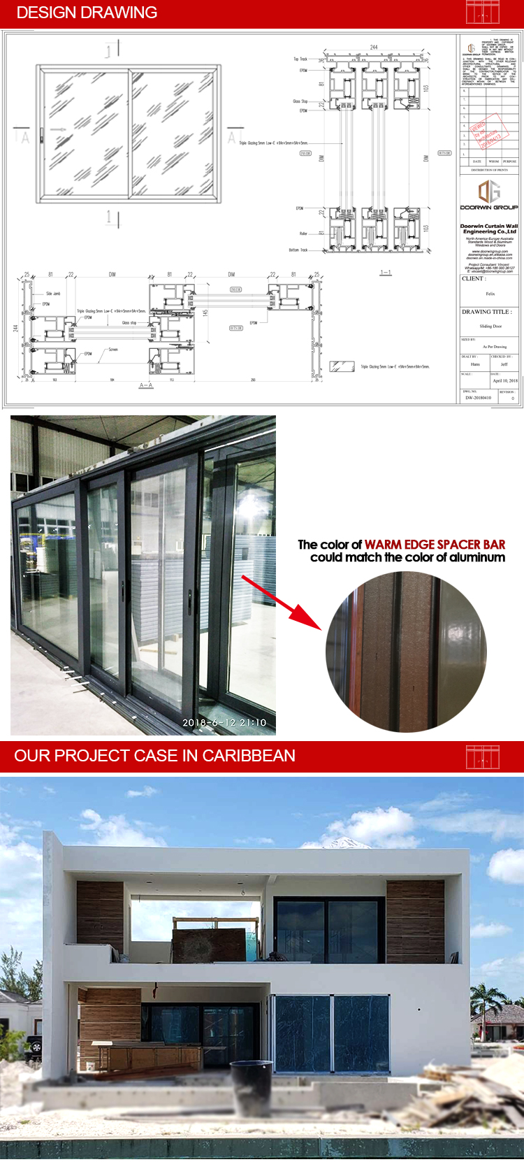 Doorwin 2020 Hot Sale American standard Hurricane Proof Impact Commercial Grade Thermal Break Aluminum Sliding Glass Doors