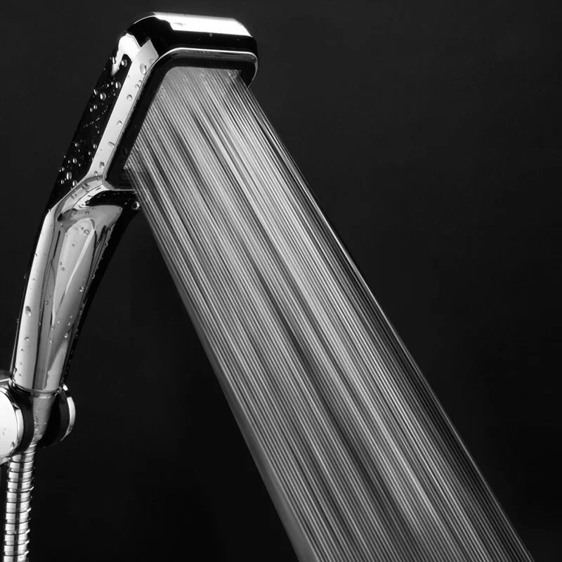 300-hole Super-pressurized Square Handheld Water-saving Booster Shower Head Stainless Steel ABS Bathroom Faucets