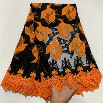 AL2566Z Orange Embroidery  Tulle Stoned French High Quality African Lace Fabric