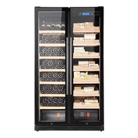 Temperature Humidity Control Double Door Wine Cooler and Cigar Humidor
