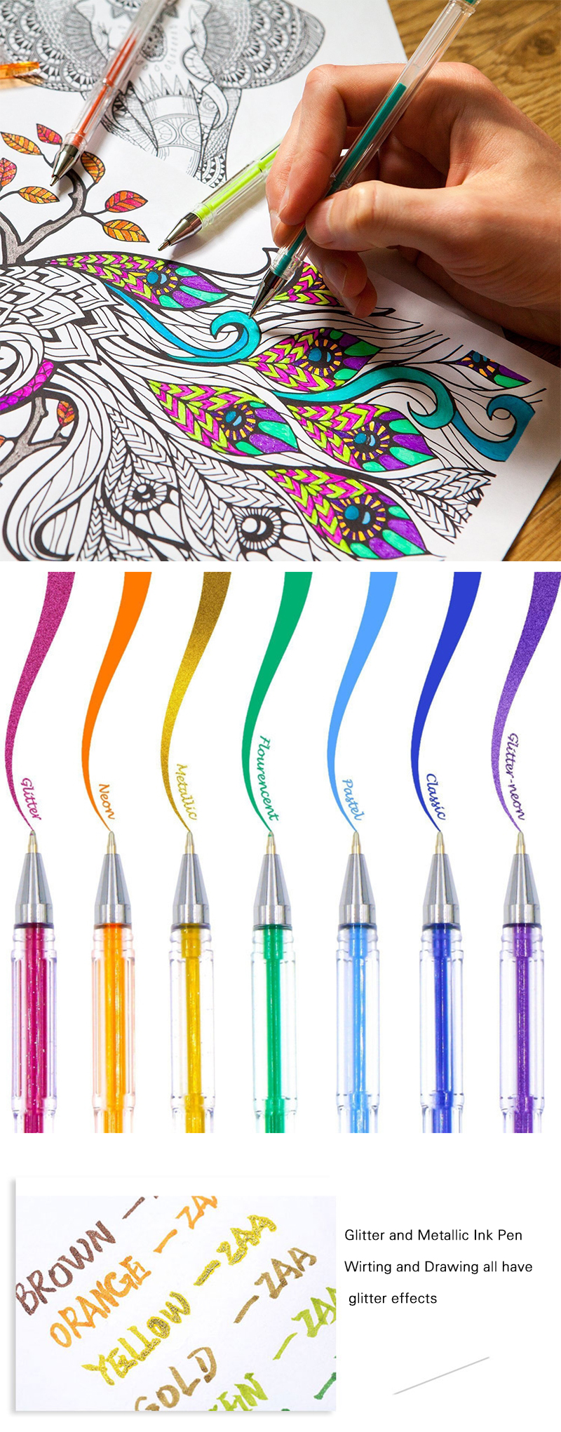 High Quality 100 Colors Gel Pens Set Refills Fluorescent Metallic Pastel Neon Glitter Classic Sketch Drawing Color Pen