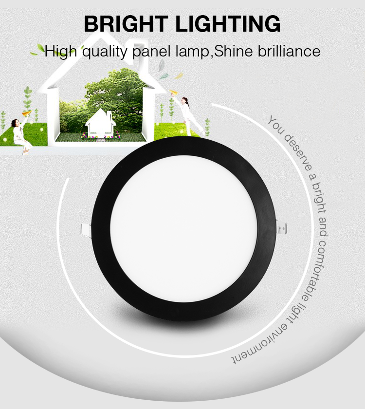 Round led panel light 24w in black housing