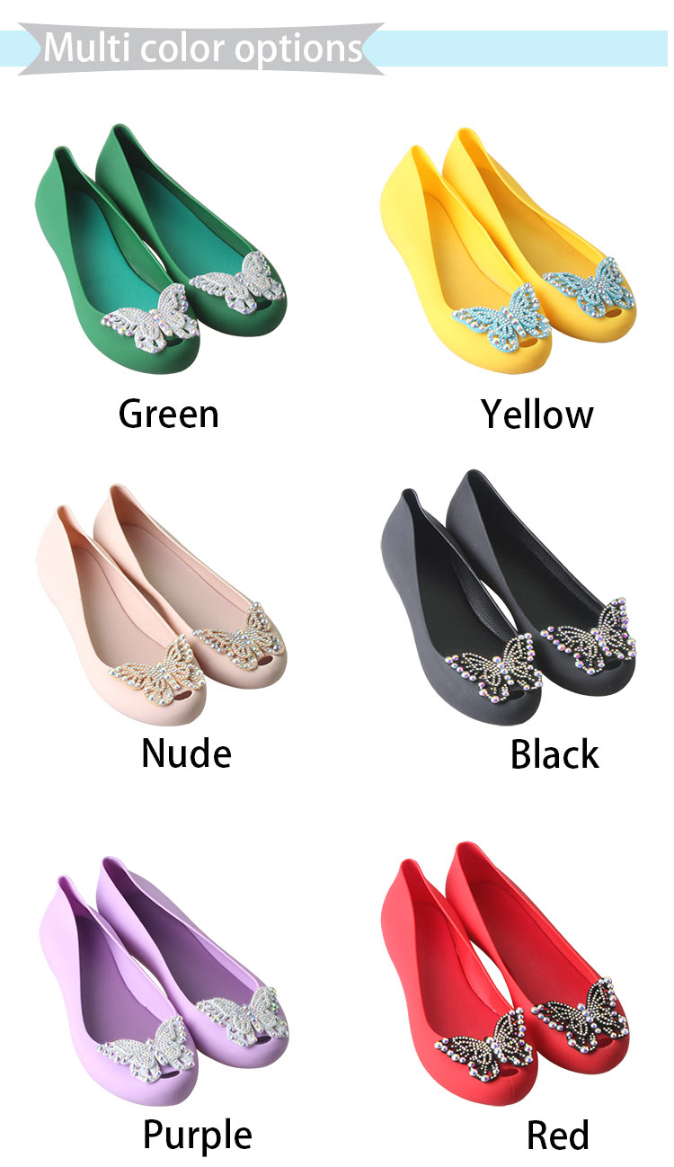 Fashion Women Flat Slip On Shoes Ladies Handmade Butterfly Fish Mouth Sandals