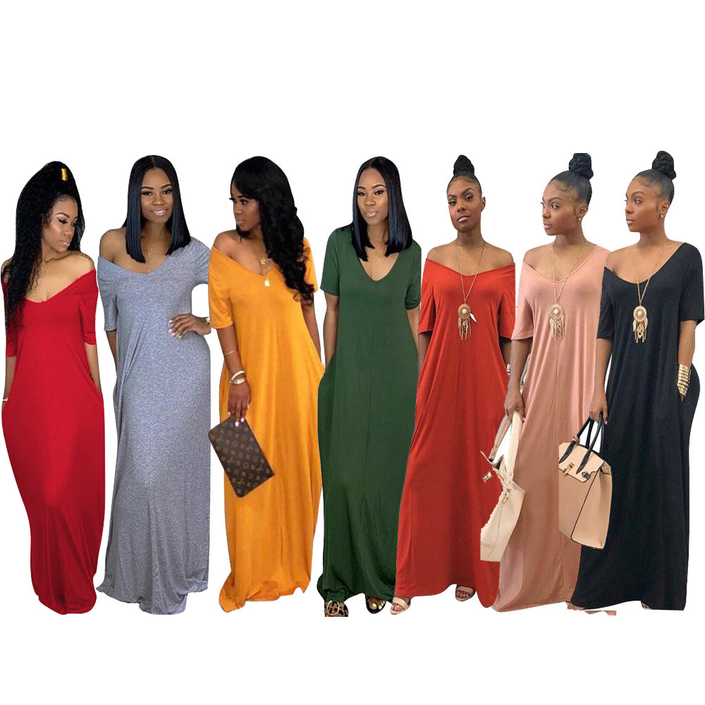 2021 Dresses Summer Casual Dresses Ladies Women Clothing Loose Summer Maxi Long Dress With Pockets