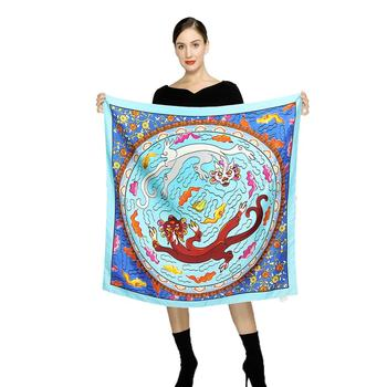 90x90 wholesale luxury custom small Silk Square Scarf For Women