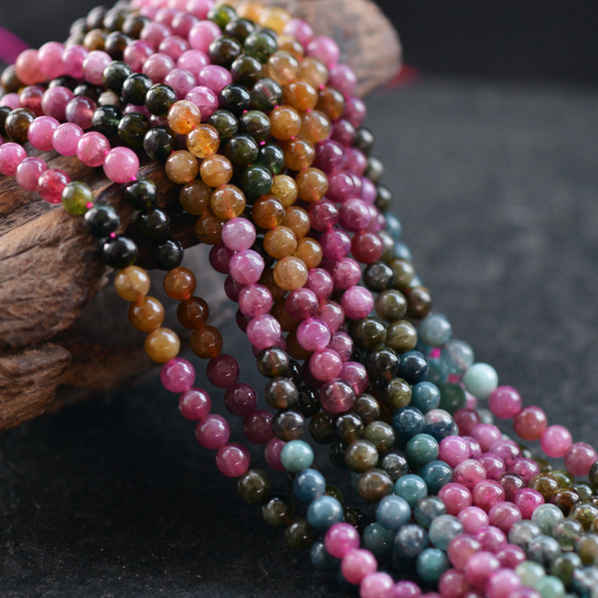 Top quality Natural Tourmaline beads for handmade multi color bracelet and necklaces