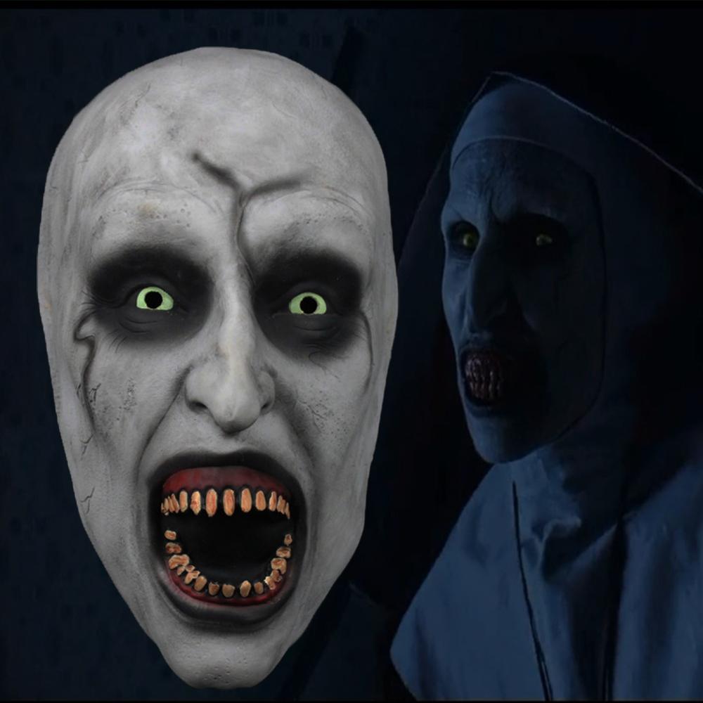 Halloween Horror The Demon Nun Scary Half Face Mask Cosplay Latex Mask