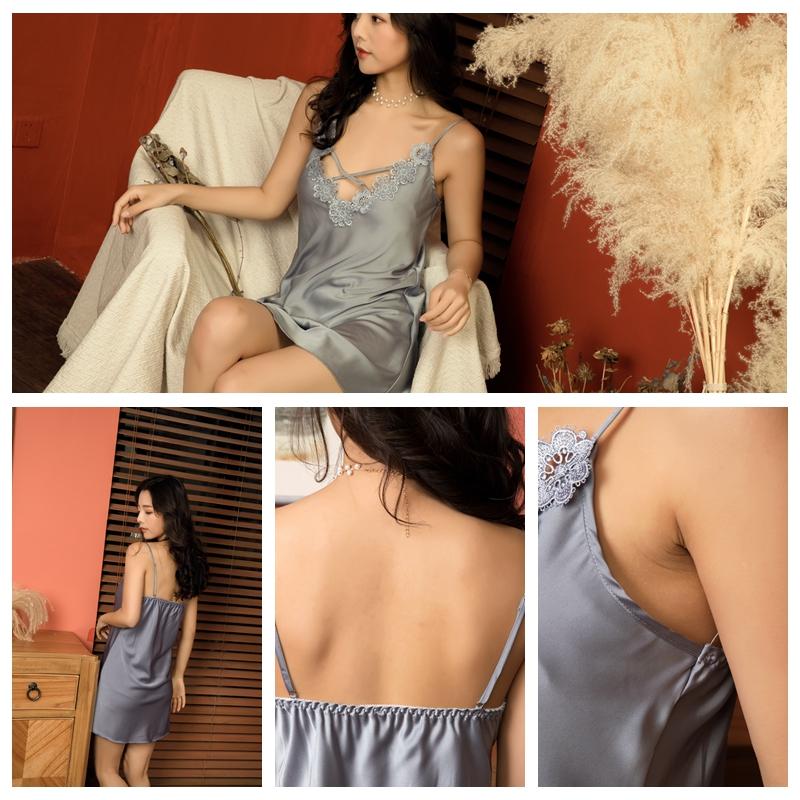2020 ipek sabahlık kadınlar elbise see through bayanlar uyku gömlek seksi sling