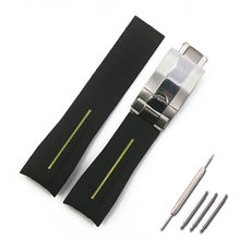 Мужской резиновый ремешок 20 мм 21 мм, складной ремешок для наручных часов, с пряжкой, ремешок для часов, водонепроницаемый силиконовый ремешо...(Китай)