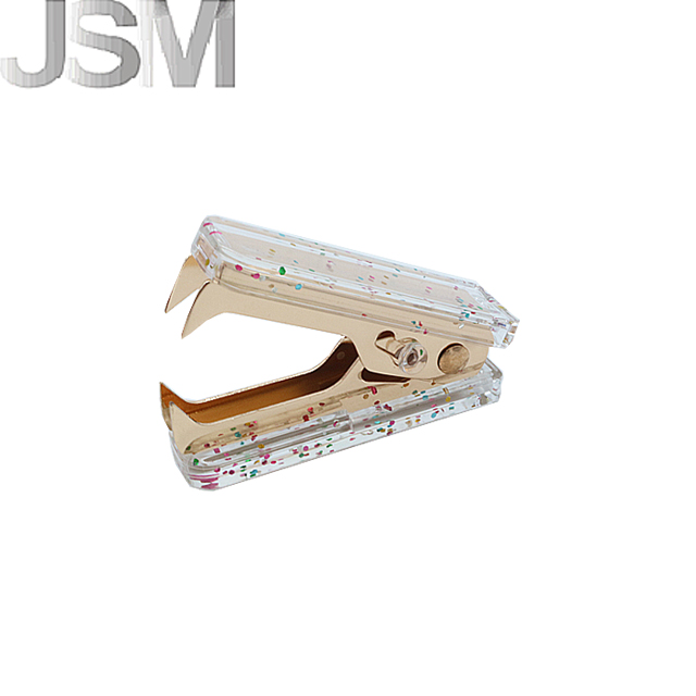 The latest useful office stationery supplies portable acrylic colorful sequins gold staple remover
