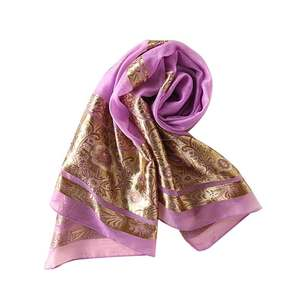 Fashion 2020 luxury floral gold glitter shimmer hijab embroidery scarf wholesale