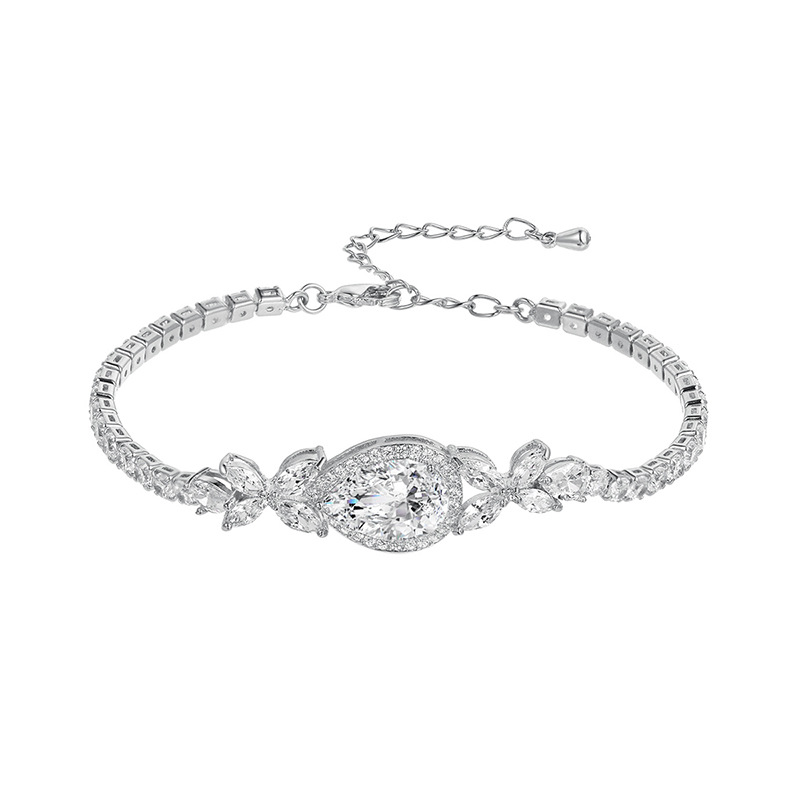Weiman Jewelry New Arrival Large Pear Cut Cubic Zirconia <strong>CZ</strong> Crystal Allure <strong>Tennis</strong> <strong>Bracelets</strong>