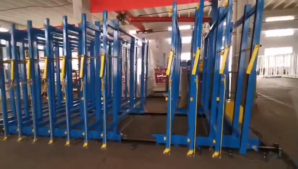ที่กำหนดเองHeavy Dutyแก้วMobile Storage Racks/ขนส่งกระจกStorage Rack
