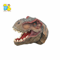 Pretend play realistic pvc dinosaur head for kid imaginative story soft rubber hand puppet toy