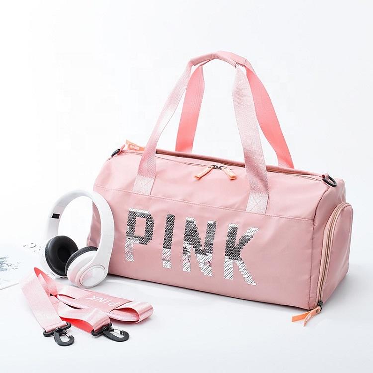 Qetesh Cilindro A Forma di Serratura della Chiusura Lampo Scarpe Da Viaggio Impermeabile di Colore Rosa Delle Donne del Sacchetto di Duffle