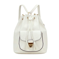 Multipurpose large capacity white drawstring leather school bags
