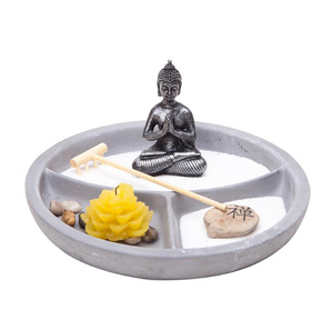 Asian Japanese Feng Shui Sand Zen Garden Buddha AND Candle