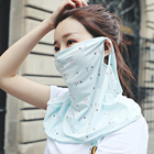 2020 Women Chiffon Earloop Face Veil Shield Neck Cover Floral Print Cycling Scarf
