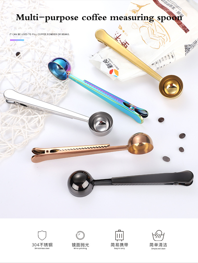 Wholesale Stainless Steel Coffee Measuring Spoon With Clip