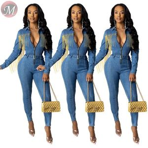9092518 new casual turn-down neck long sleeve tassels jeans Mujer Bodycon Jumpsuit