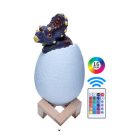 Multifunction cute dinosaur kids lamp night light fancy remote control colorful egg shape 3d kids night lights for room