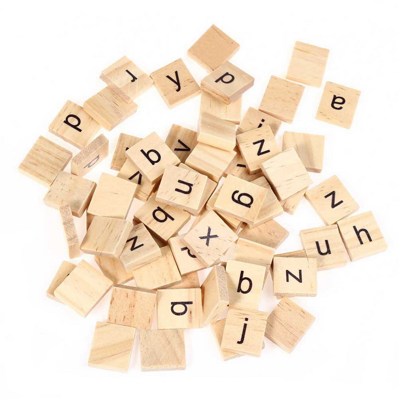 Wood DIY pieces pendants spelling scrapbook unfinished custom board game craft alphabet tiles wooden scrabble letters