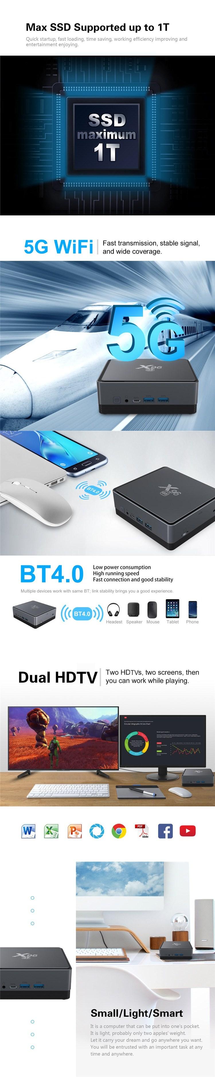 Factory directly with 2020 X96 G5 Z83-V TVBOX VGA port for Windos 10 MINI PC Intel Mini Pc Dual Band Wifi 2G 32G z83v