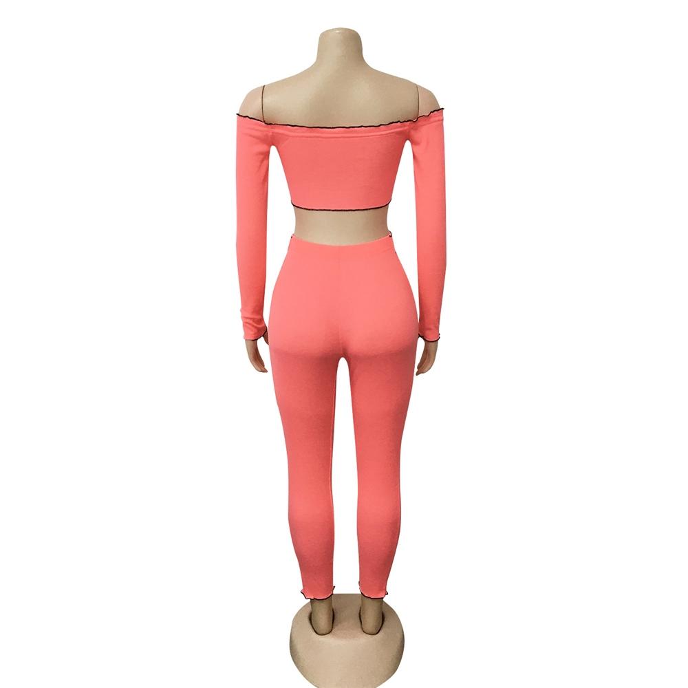 MD-2082638 Baru 2020 Wanita Trendi Celana dan Off Shoulder Crop Top Dua Sepotong Set