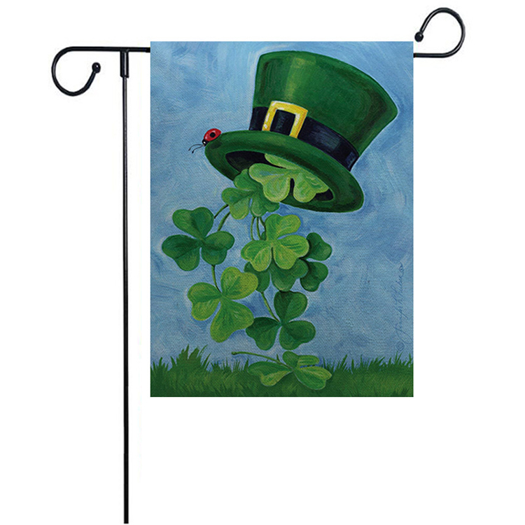 Hot Explosions St. Patrick's Day Clover Pattern Double-sided Printing Garden Flag