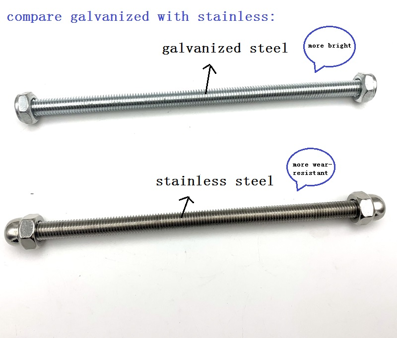 Anti -threaded Safety Steel Cable With Threaded Bar and Nuts Attached To The Column