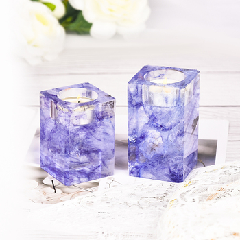 Factory Wholesale Customized Square Nordic Crystal Glass Tea Light Holder