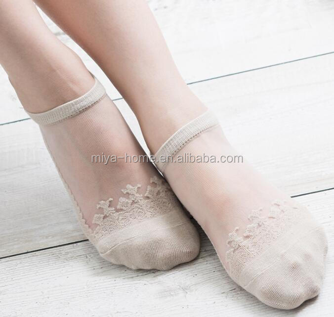 Women Lace Soft Clear Silk Cotton Socks / Elastic Mesh Knit Transparent Ankle socks