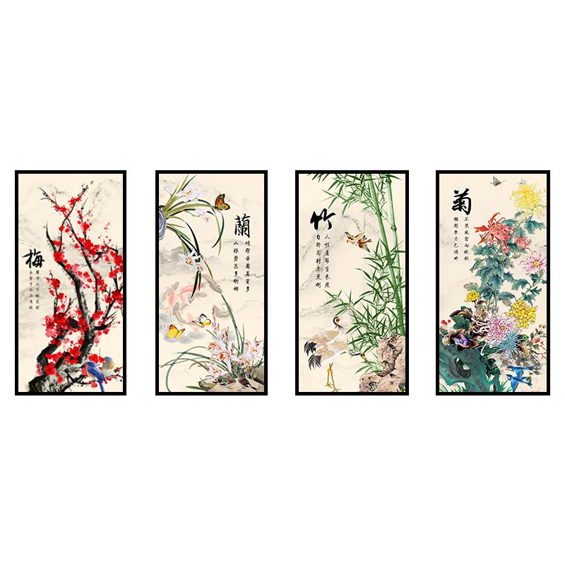 3 piezas estilo chino ciruelo Flor de Orquídea de crisantemo de la lona de la pared decoración pintura arte Decoración