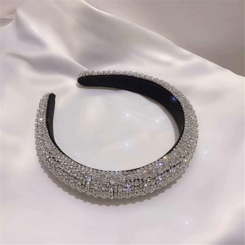 Hot Sale Baroque Crown Wide Crystal Hairband Handmade Luxury Color Crystal Headband Wedding Hair Jewelry Accessories
