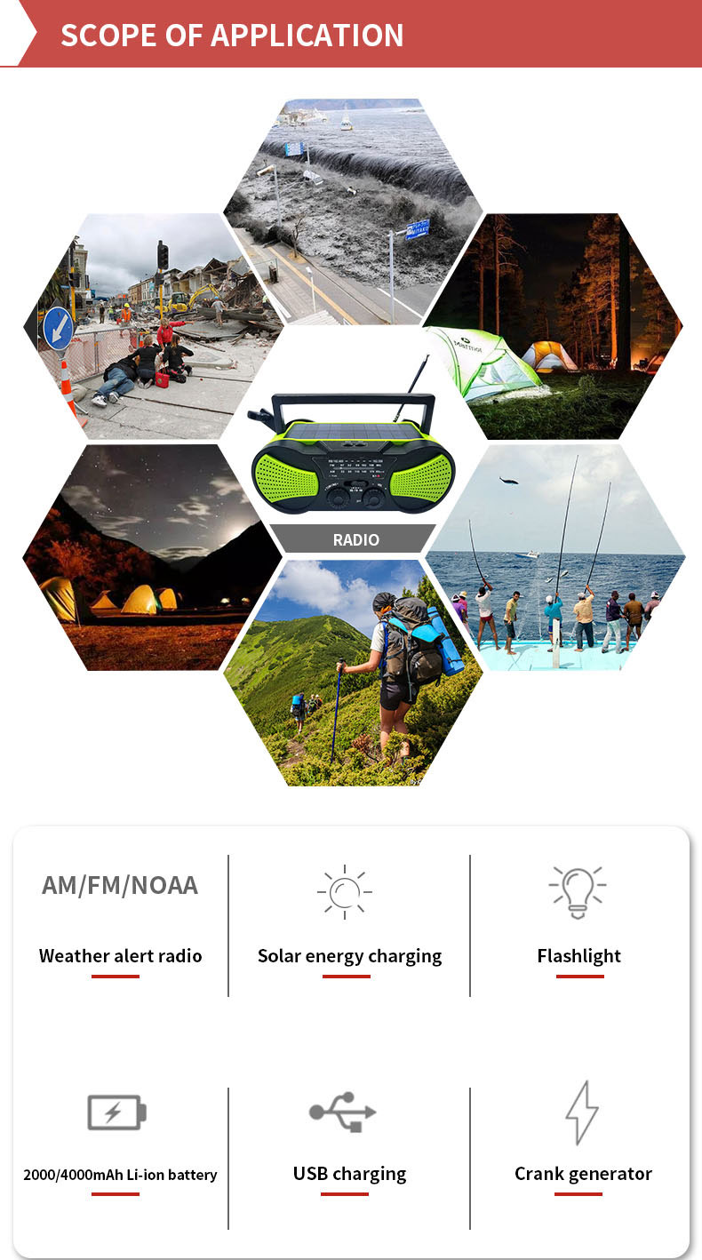Portable 4000mAh Battery Solar dynamo Crank AM/FM/NOAA 18650 Weather Emergency table Radio With 3W LED Flashlight SOS Siren