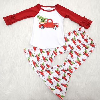 christmas day cute car and tree pattern long sleeve bell pants boutique clothing sets for the kids clothing sets
