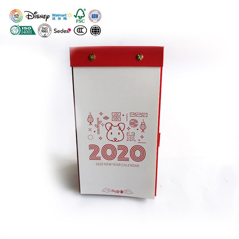 Calendrier de bureau 2020 personnalisé en chinois, impression créative et personnalisée, calendrier de Table