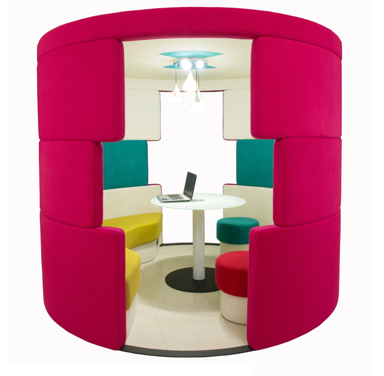Cylindrical shape fabric type office meeting booth office phone pod with LED light