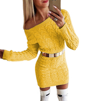 2019 amazon knit wear hot selling sexy long sleeve women knit wear women belted sweater dress for beautiful