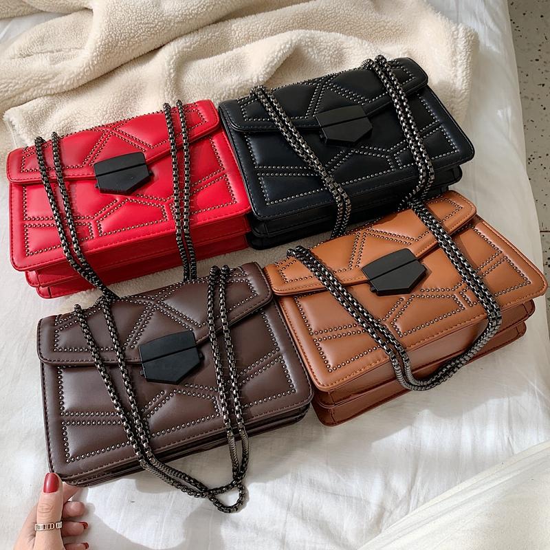 2019 Fashional Women Rivet Handbags Lady Square bag chain single Shoulder Bags