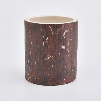 360ml concrete candle holder with tree pattern