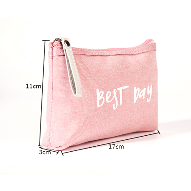 Wholesale New Portable Women High Quality Custom Cosmetic Canvas Makeup bag Case With Zipper