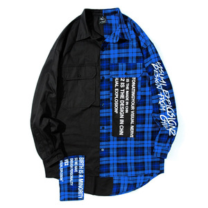 Popular logo hip hop shirt  men's fashion loose long sleeve check patchwork long shirt women's couple coat