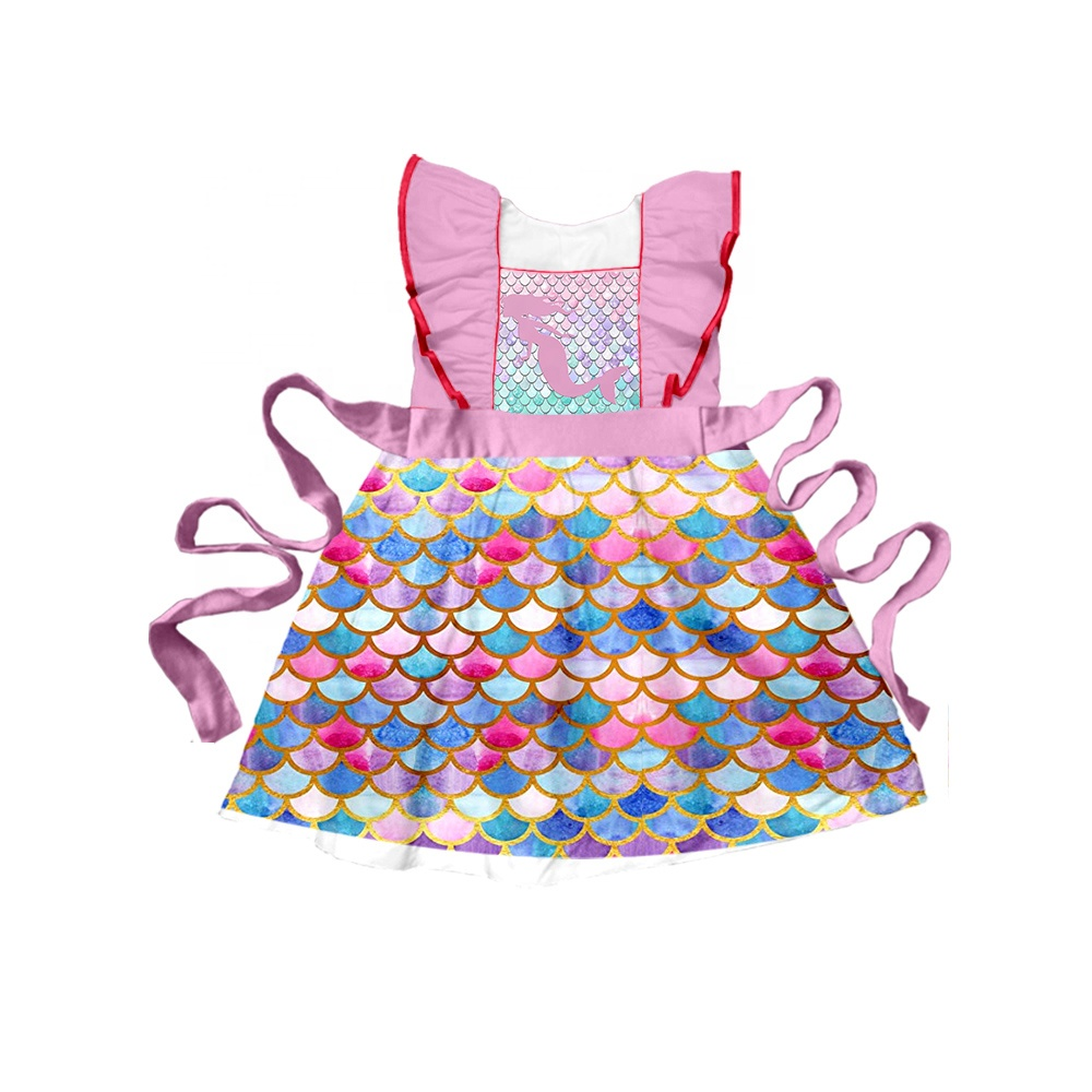Baby girls summer <strong>kids</strong> <strong>fashion</strong> design mermaid scale print belt infant toddler 3 years old children knee length dresses