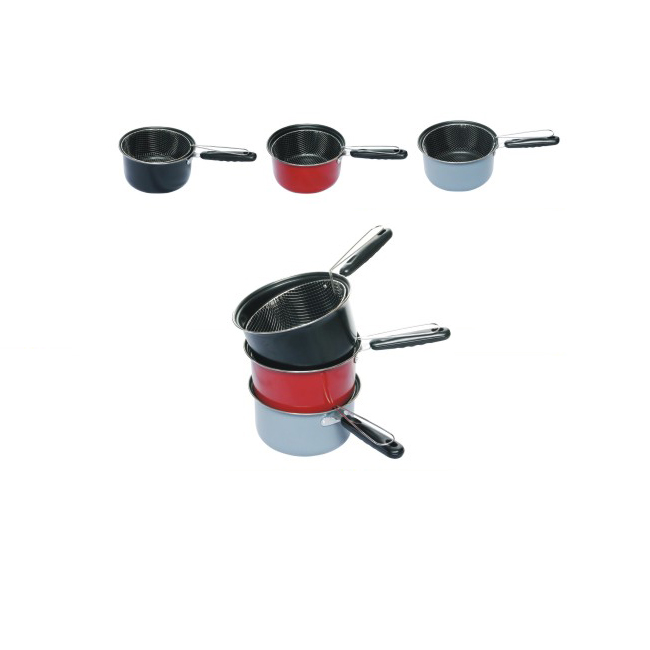 Fry Pot and Basket with Cool Touch Handle,Non-stick Deep Fryer Pan