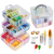 Full Set of Embroidery Starter Kit Cross Stitch Tool Kit Including 5 Embroidery Bamboo Hoop  50 Color Threads knitting needles