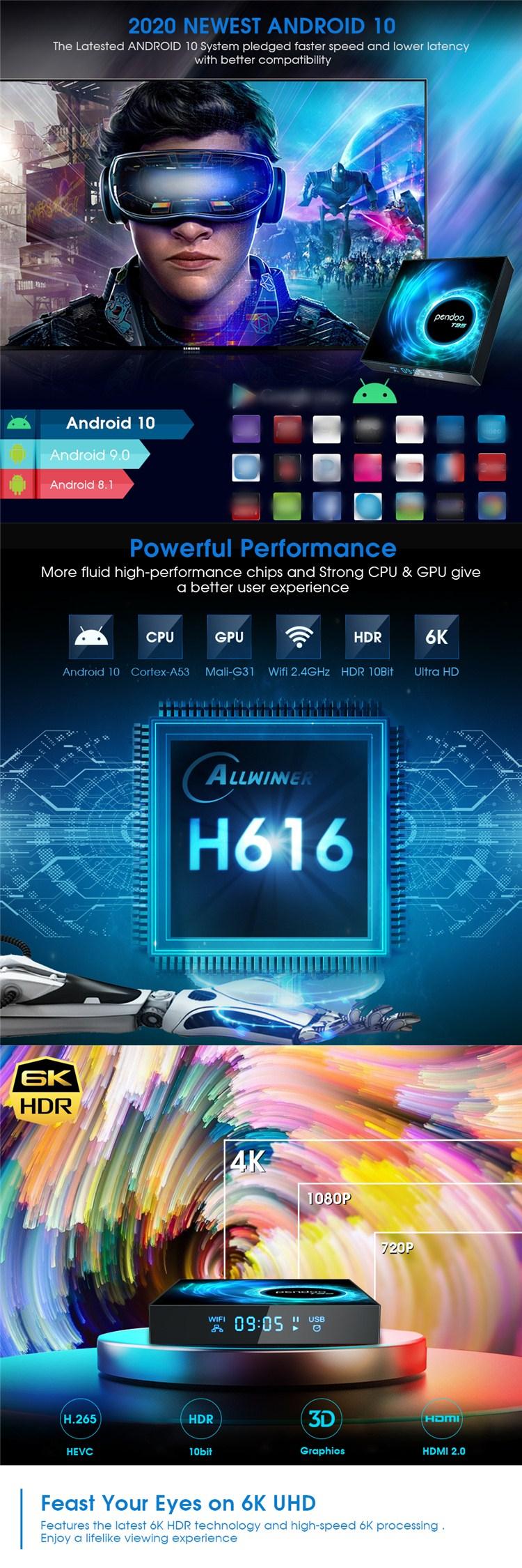Pendoo T95 H616 32gb Rom 2gb Best Mini All Hard Drive Smart 128 Gb Android Tv Box