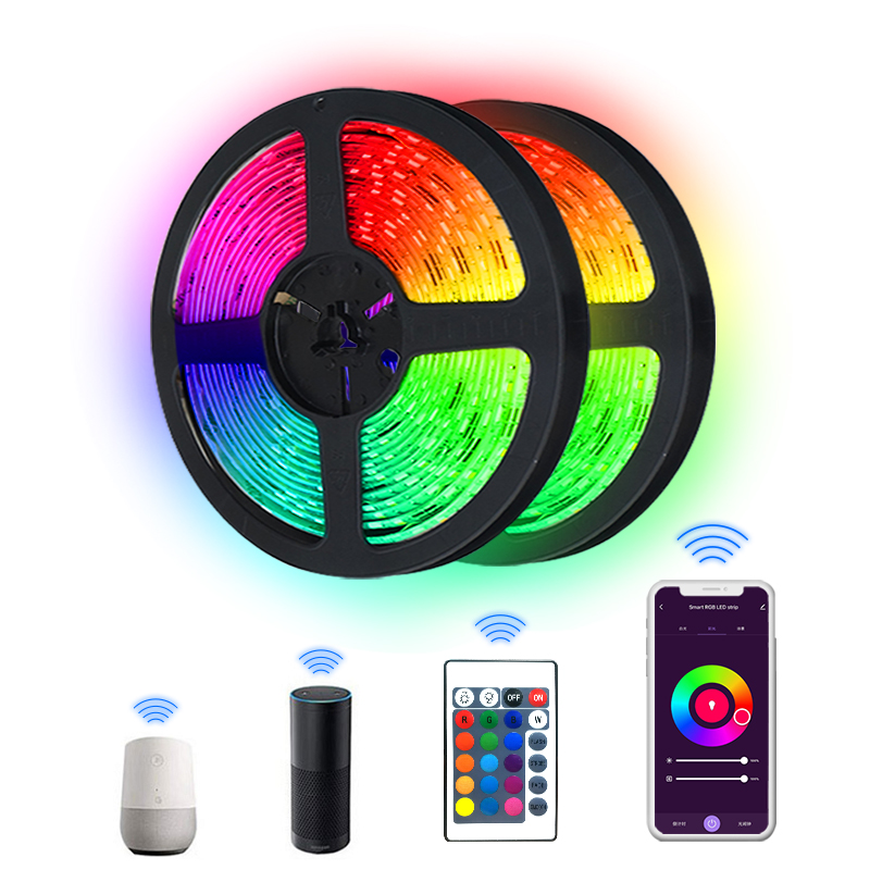tuya smartlife IR/ wifi RGB 10M flexi LED light strip+controller+adapter kit.Mic music sybc, Alexa/google voice control