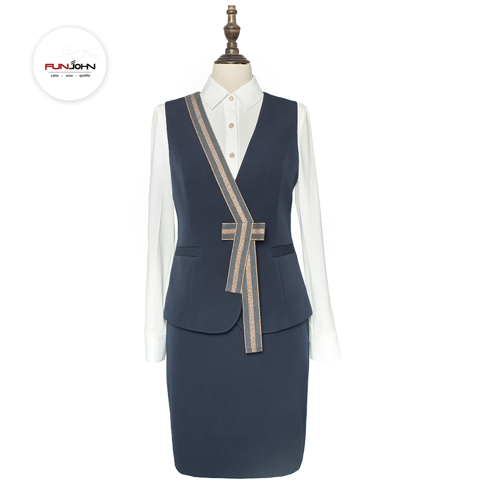 Quality sleeveless glitered Air Hostess Skirt Suit Uniform Airline
